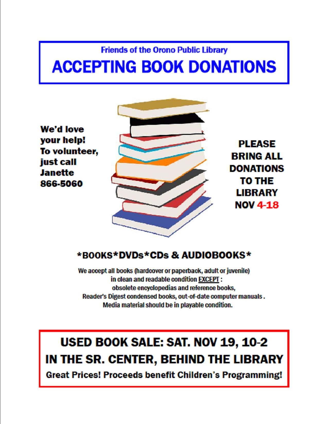 FOPLBOOKSALE 11/19 from 10:00am to 2:00pm. Now taking book donations.