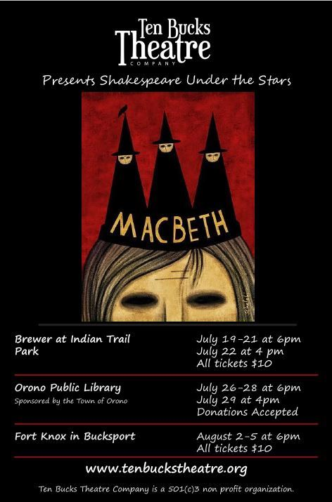 macbeth poster for Ten Bucks Theatre Company performances