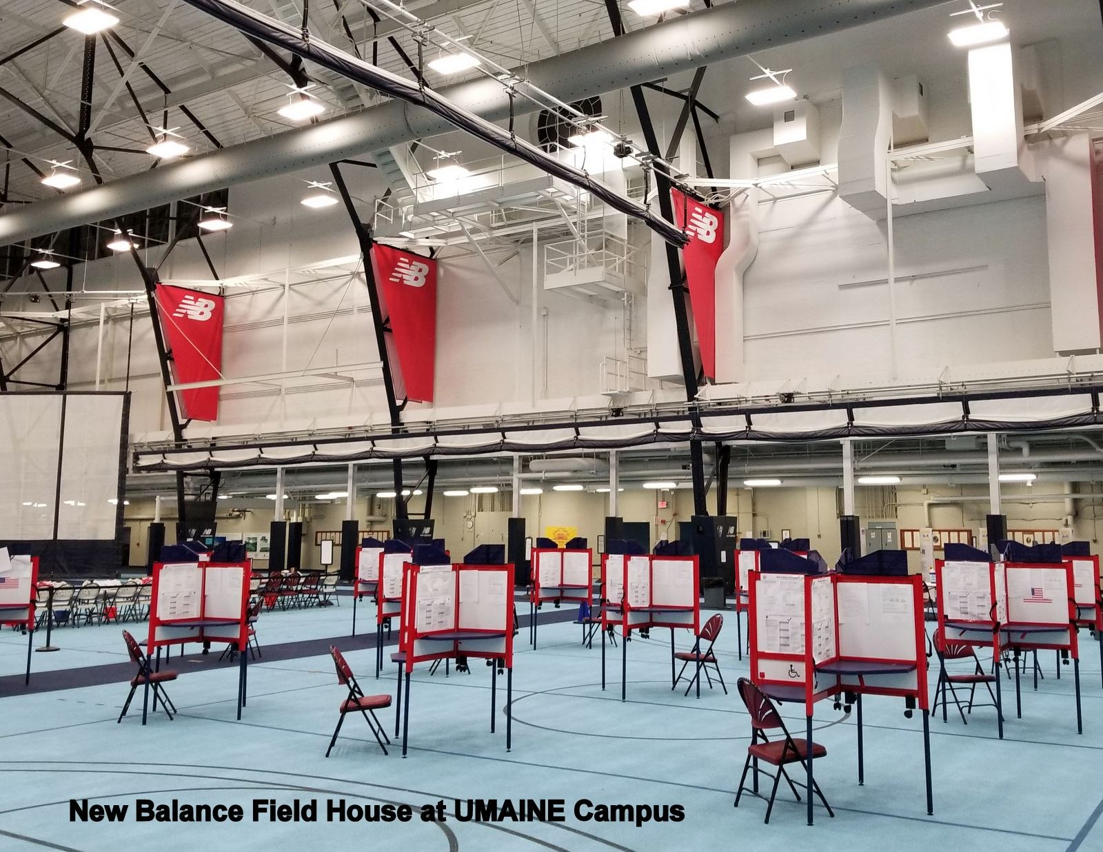 Voting booths at the New Balance Field House on UMaine Campus
