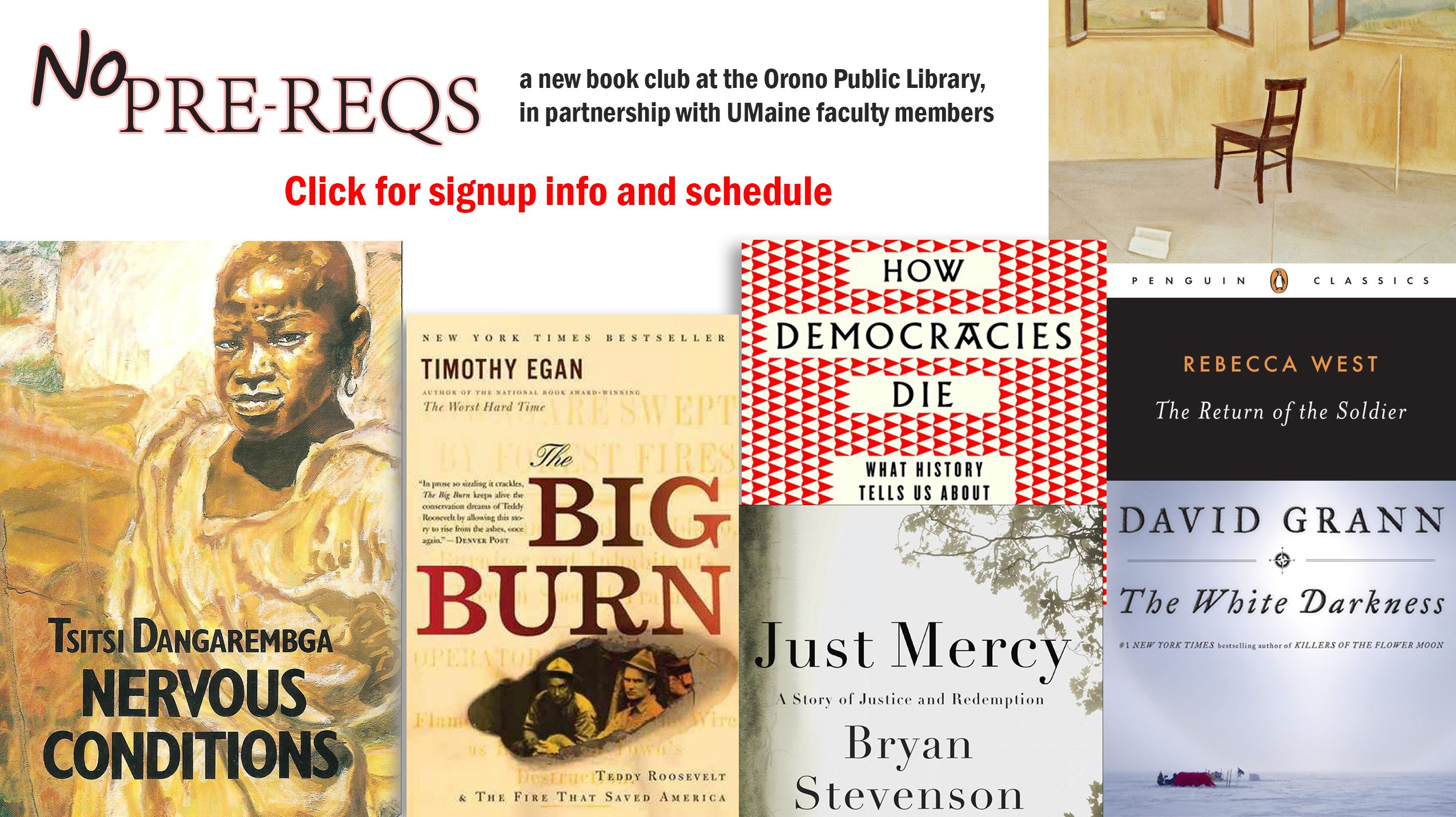 Click to learn about the new library book club No Pre-Reqs