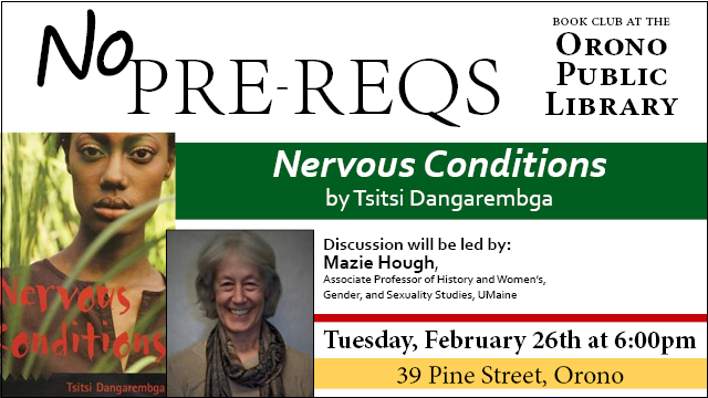 Nervous-Conditions event 2/26 6pm at Orono Public Library