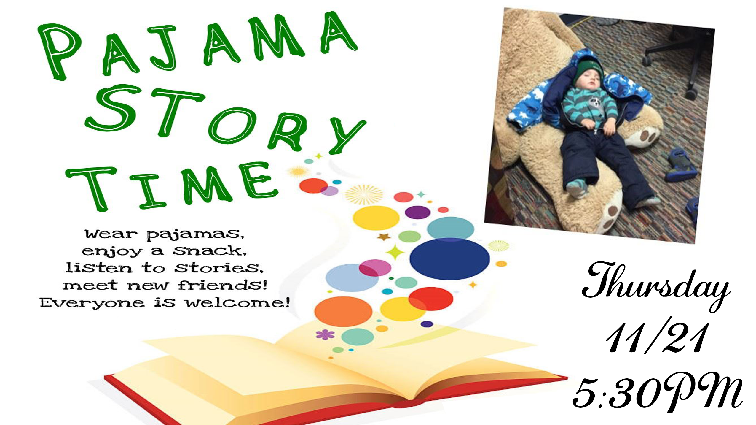 pj-storytime 11/21 5:30pm at the library