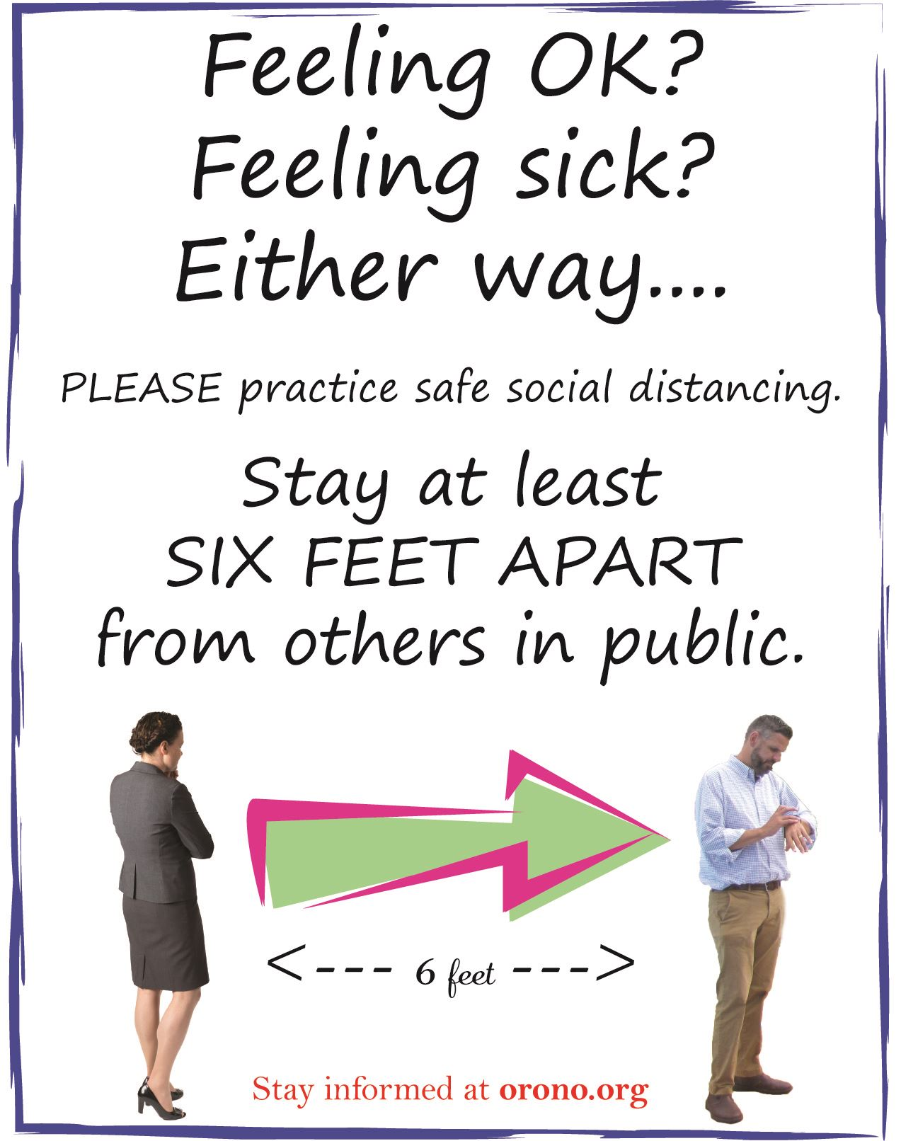 stay six feet apart in public to avoid germs