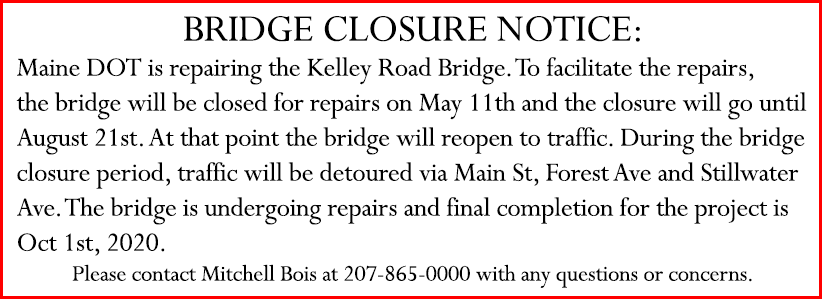 kelley road bridge closure beginning may 11