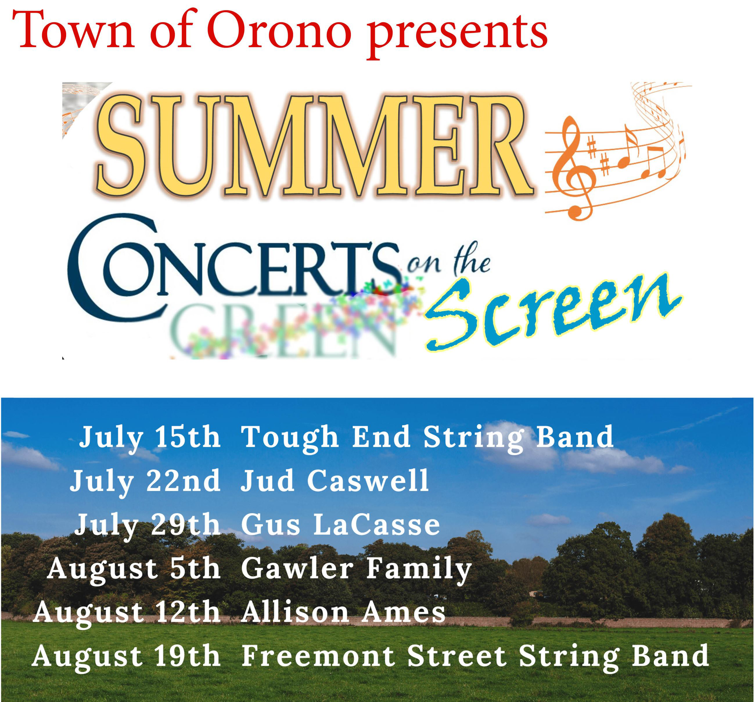 Summer Concert Series schedule - see link for text version