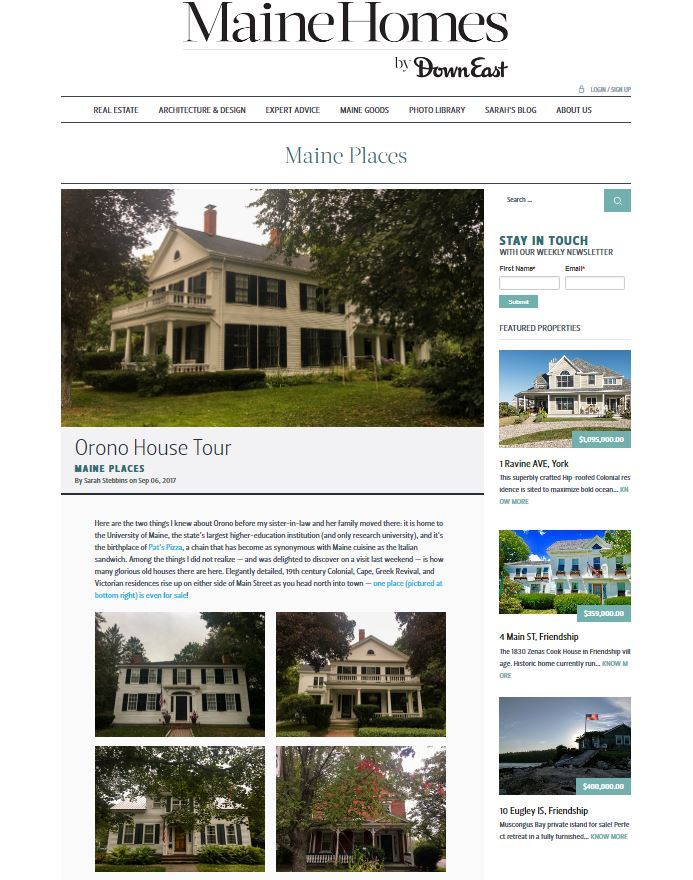 Orono's Historic Homes Feature