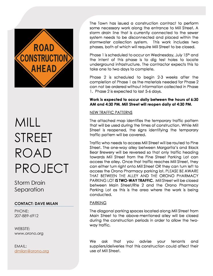 mill Street construction 2020 flyer
